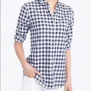 J Crew black and white classic gingham shirt